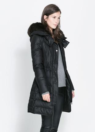 Пуховик zara зимняя куртка пальто