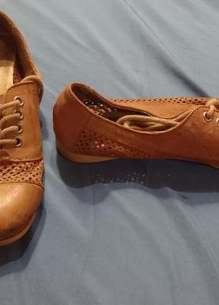 Туфли оксфорды кожаные светло коричневые 37 размер