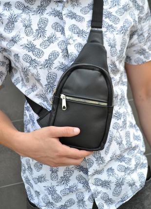 Кожаная сумка слинг месенджер барсетка натуральная кожа / мужская женская