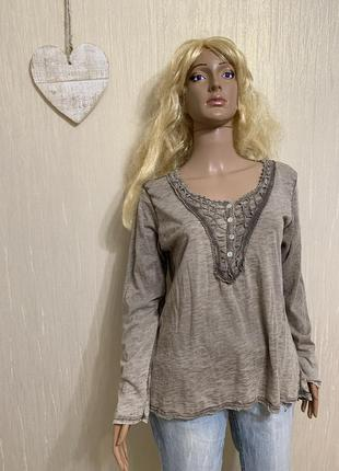 Италия натуральная хлопковая блуза с кружевом варенка