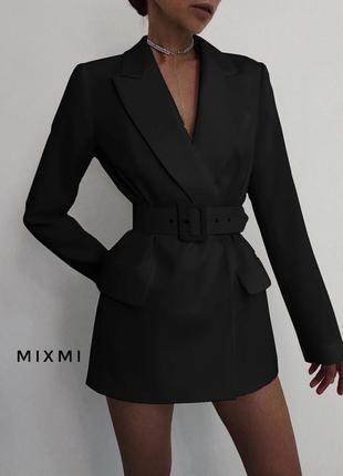 Эффектный удлиненный двубортный пиджак/платье/жакет с поясом5 фото
