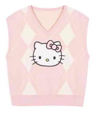 Розовая оверсайз жилетка hello kitty