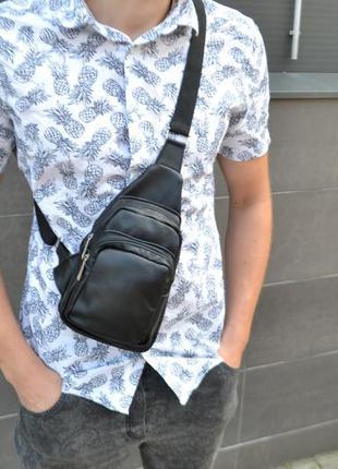Кожаная сумка натуральная кожа / барсетка слинг мессенджер рюкзак сумочка через плечо мужская
