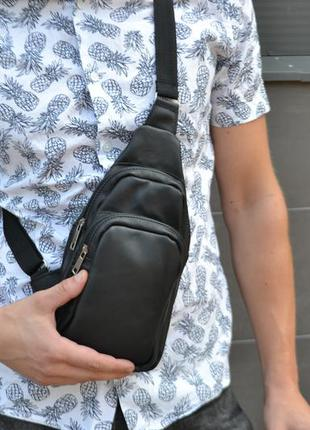 Кожаная мужская сумка слинг барсетка мессенджер рюкзак / натуральная кожа месенджер