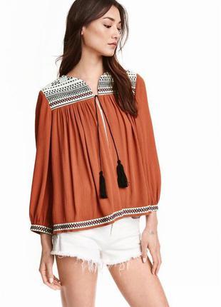 Жакет блузка с вышивкой в этно бохо стиле вискоза h&m