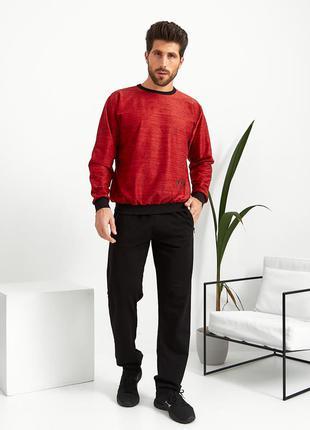 Мужской домашний трикотажный костюм спортивного стиля штаны + кофта, 48-56 (270красн)