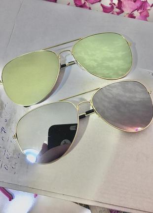 Солнцезащитные очки капли круглые серые зеркальные линзы металлическая оправа авиаторы