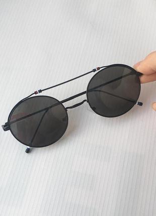 Очки солнцезащитные от солнца тишейды овальные круглые с металлической оправой черные чёрные