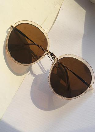 Очки солнцезащитные от солнца коричневые линзы большие круглые с металлической оправой