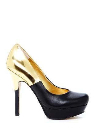 Двухтонные туфли черные с золотом, натуральная кожа, с нюансом - за полцены, р-р 37