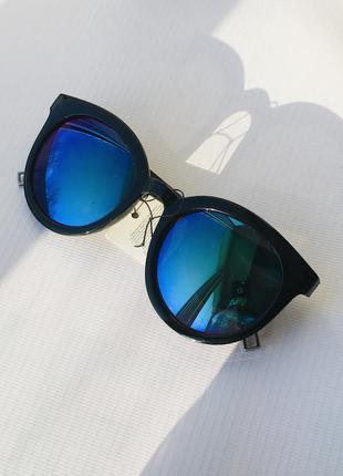 Солнцезащитные очки от солнца круглые хамелеон зеркальные синие фиолетовые линзы стеклам стёклам