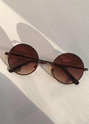 Солнцезащитные очки круглые тишейды металлическая оправа в стиле ретро винтаж винтажные коричневые