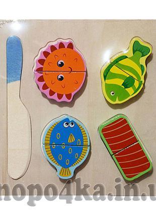 Рамка с вкладышами и ножом продукты на липучке