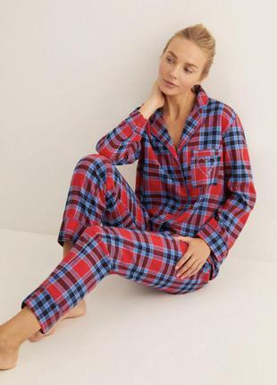 Піжама в клітинку штани рубашка одяг для дому стильная женская пижама в клеточку