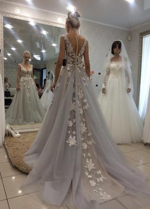 Свадебное платье gabbiano кружево цвет ясеневый серое