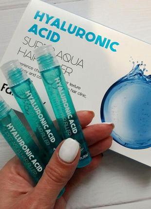 Корейский филлер для волос с гиалуроновой кислотой farmstay hyaluronic acid super aqua hair filler