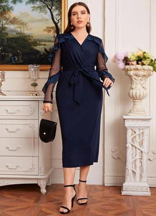 Shein платье миди  размера плюс в горошек с сетчатым рукавом и поясом