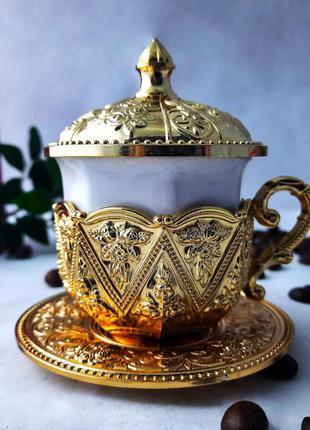 """Турецкая чашка для кофе. цвет: """"золото"""", 50 мл"""