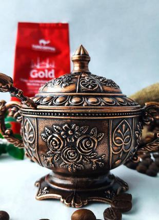 "Турецкая сахарница ""роза"". цвет: медь, серебро, золото"