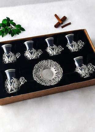 Турецкие стаканы (армуды) для чая (кофе). цвет: золото. серебро