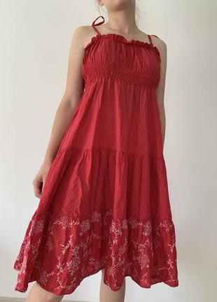 Романтична сукня сарафан в горошок літня легка міді/ платье в горошек актуальное