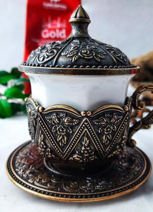 """Турецкая чашка для кофе. цвет: """"золото"""", 50 мл медь"""
