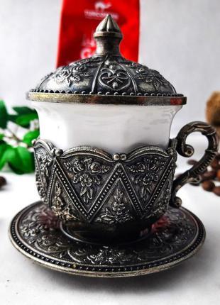 """Турецкая чашка для кофе. цвет: """"золото"""", 50 мл темное серебро"""