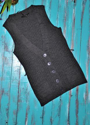 Темно-серая кофта -жилет - h&m. 50% шерсть 38/40 размер