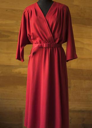 Красное платье миди с поясом женское c&a, размер xl