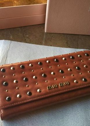Женский брендовый кожаный кошелек miu miu италия