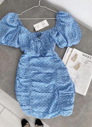 Нереально красивое платье zara в горошек
