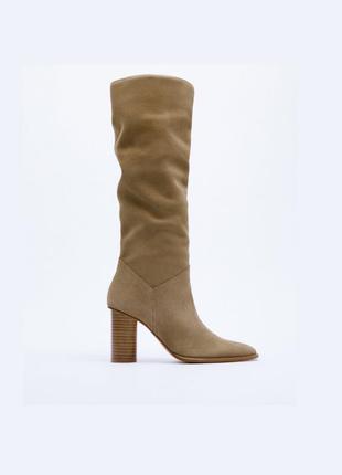 Замшевые кожаные сапоги ботинки от zara оригинал новые