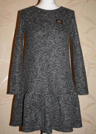 Платье букле с оборкой