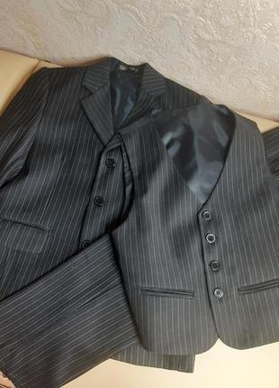 Костюм тройка для школьника, пиджак, жилетка, брюки
