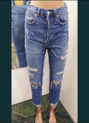 Рваные джинсы мом, мом джинсы h&m