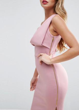 Asos сексуальное розовое платье с разрезом