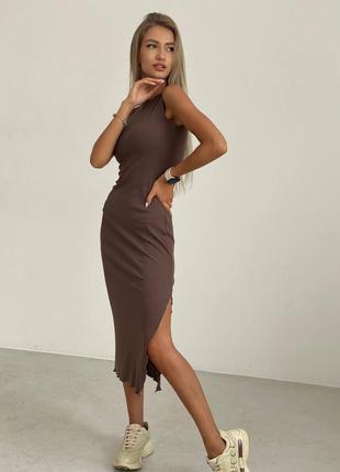 Платье миди рубчик реал 3 цвета