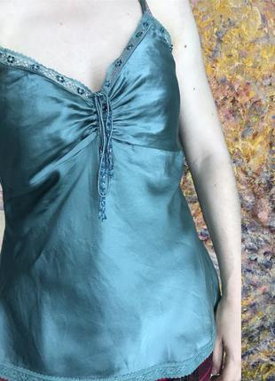 Богемная шелковая майка coast шикарная! с кружевом винтажный стиль бирюзовая зелёная