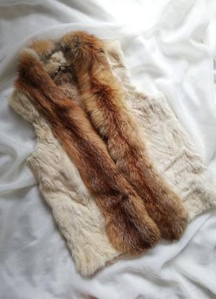 Жилетка меховая лиса жилетка из кролика лисы