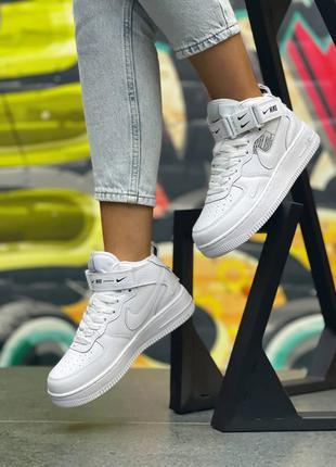Женские кроссовки nike air force 1 mid utility all white, сникерсы кожаные кеды, жіночі кросівки шкіряні