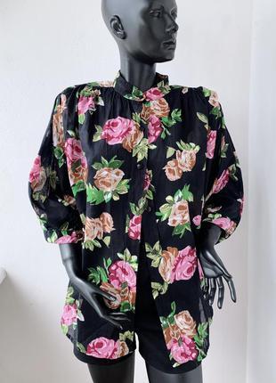 Рубашка в цветочный принт / винтаж / хлопок