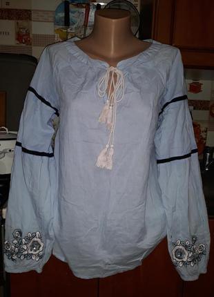 Шикарная блузочка вышиваночка vena!размер l.100% котон.