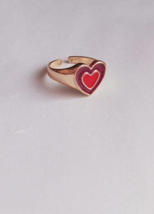 Кольцо с сердцем инь ян радость золото кольцо с эмалью каблучка перстень печатка