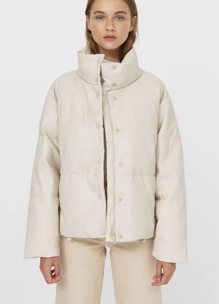 Куртка, куртка эко кожа, кожаный пуховик, зимня курточка, теплая куртка,пуфер, пуфер страдивариус, stradivarius куртка