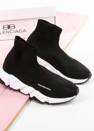 Стрейчевые женские кроссовки носки чулки чёрные