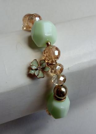 Браслет pilgrim с покрытием золотом, бусины горный хрусталь, ювелирная эмаль