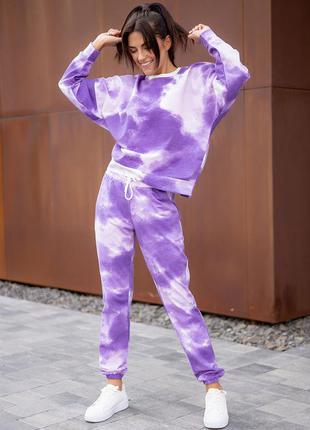 Костюм тай-дай: свитшот с принтом + штаны