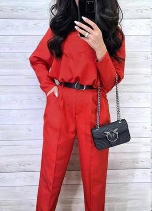 Красивый женский костюм штаны кофта красный костюм