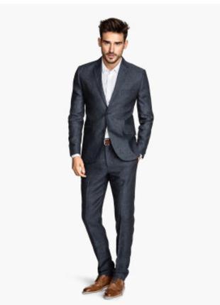 Льняные мужские костюмные брюки h&m слим фит