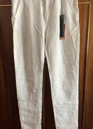 Женские новые брюки , белые штаны , лён, льон, новые с биркой